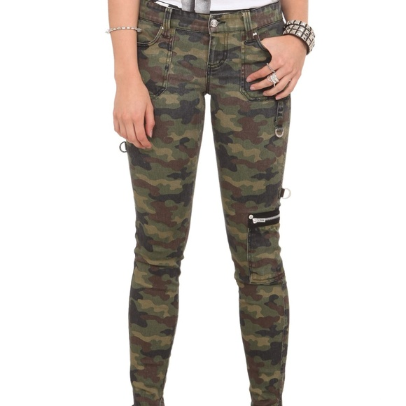 Royal Bones Denim - Camo Skinny Jeans with Accent Zippers Royal Bones